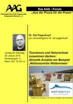 """Poster mit Ankündigung des Vortrags """"Tourismus und Naturschutz"""