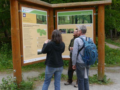 Bild zeigt Besucher vor einer Informationstafel im Nationalpark Eifel